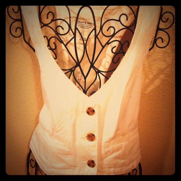 White Vest This white jean vest is brand new!!! Would look great with a floral top or dress. Jean vest is fitted & true to size. I love H81 Tops