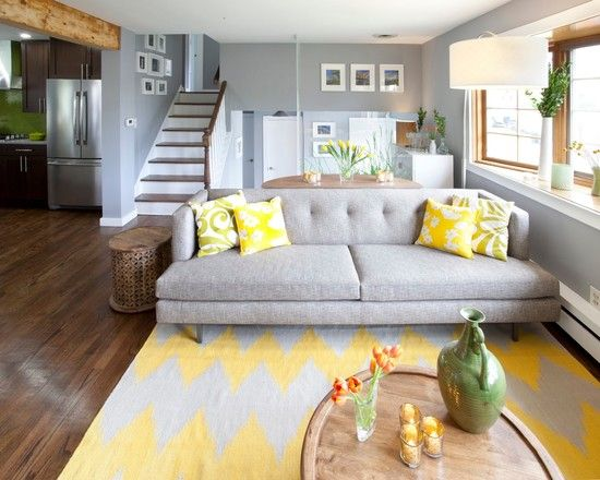 Living Room, Magnificent Grey Living Room Ideas With Grey Tufted Sofa Next To Wooden End Table Also Yellow Tulip Flowers On Dining Table And...