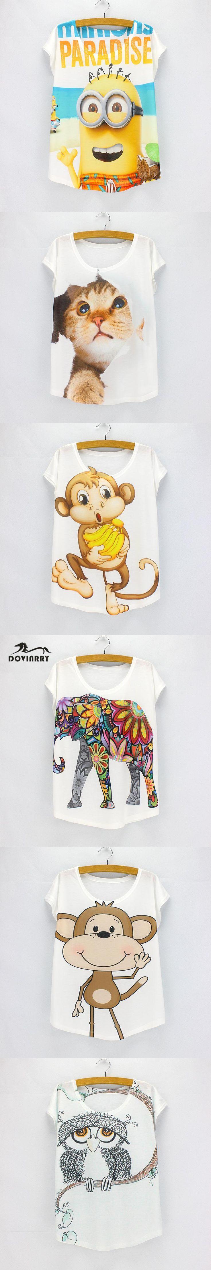 Cartoon Animal Printed T-shirt Women O-Neck Brand Clothing Top Tees Casual Rock T-shirt Female Harajuku Top Cute Cat Tees