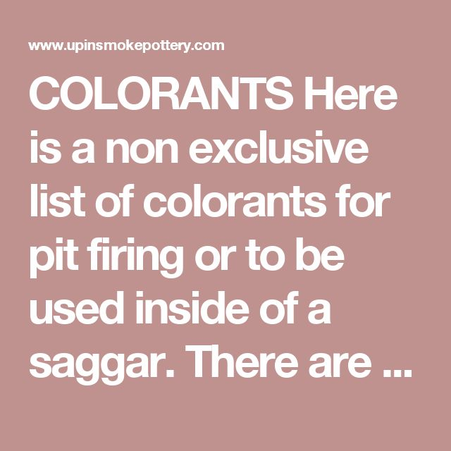 Colorants Here Is A Non Exclusive List Of Colorants For