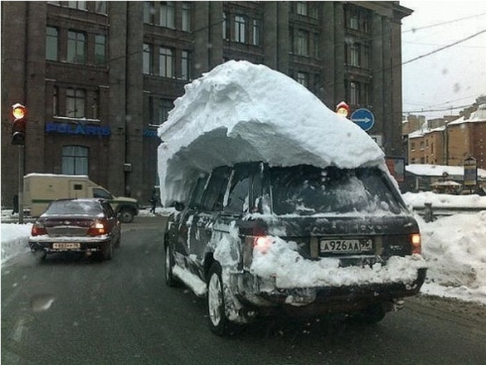 You cleared the snow off your windshield, you should be fine.