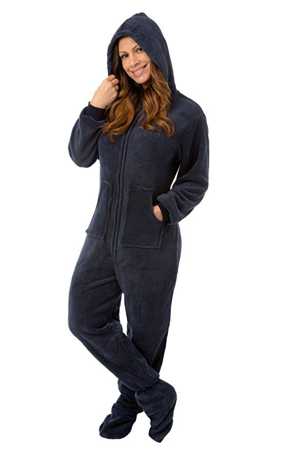 Amazon.com: Navy Blue Hooded Plush Adult Mens Footed Pajamas Onesie w/ Drop Seat: Clothing