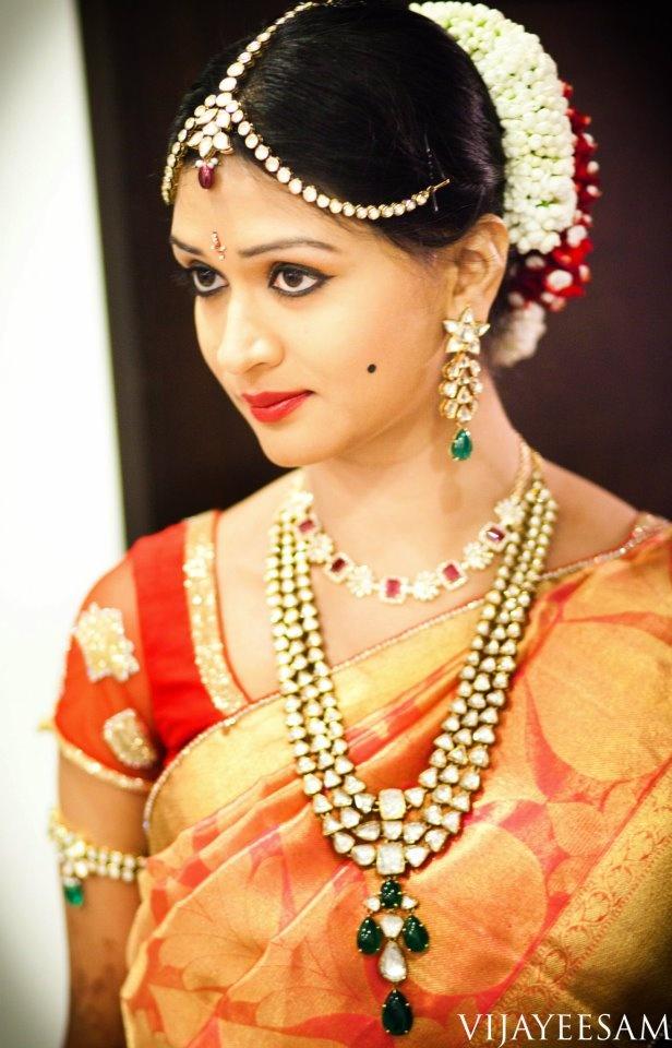south indian bride # makeup/jewels/saree/gajra/ kala tika on the cheek :) _ perfect