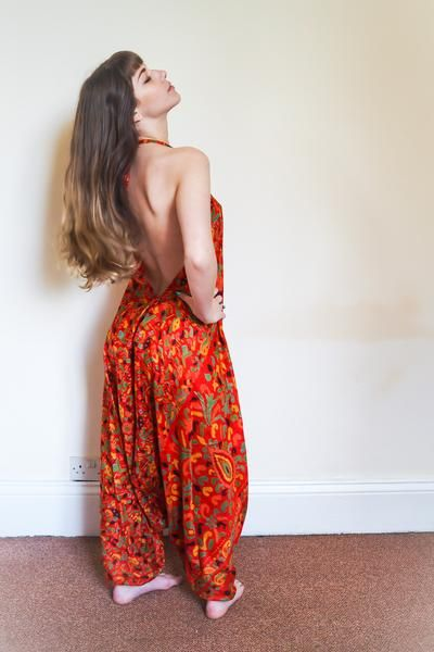 Festival jumpsuit/romper/one-piece made from reclaimed vintage sari - bold orange
