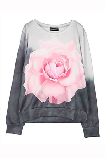 3D Rose Printed Ink Blooming Pullover