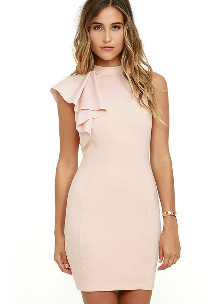Pink One Ruffle Shoulder Bodycon Dress