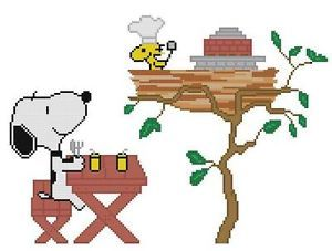 Cross Stitch Knit Crochet Plastic Canvas Waste Canvas Rug Hooking and Bead Work Pattern Snoopy is waiting on his barbecue from Woodstock!    https://www.pinterest.com/resparkled/
