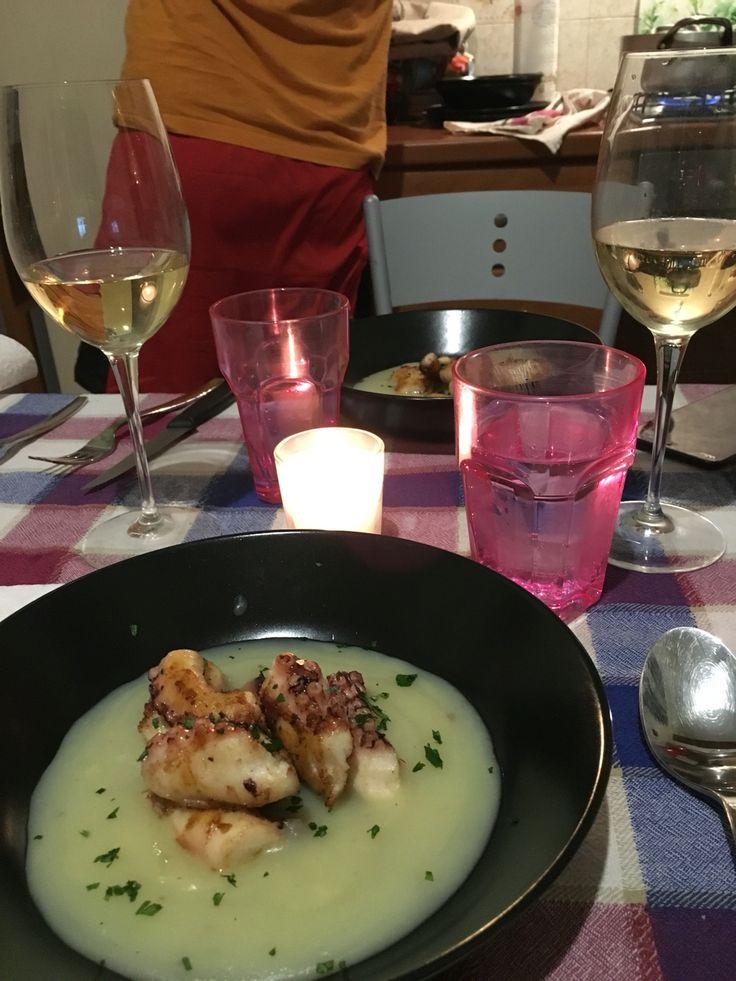 Calamaro arrostito su crema di patate