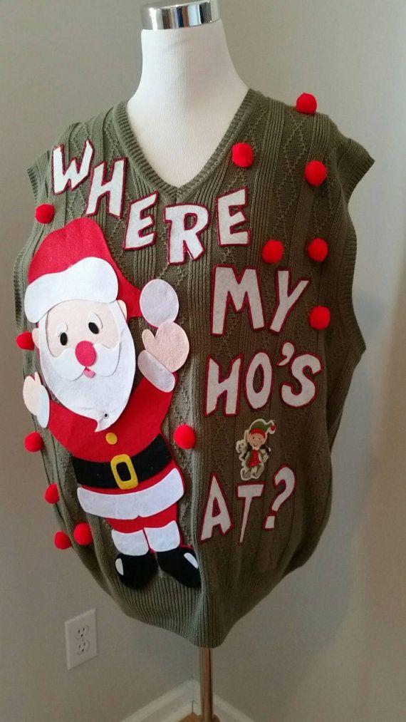 Ugly Christmas Sweater Santa Claus Where My Ho At 3d Novelty