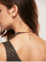 Bohemia Multilayer Beads Chain Necklace - KHAKI Mobile