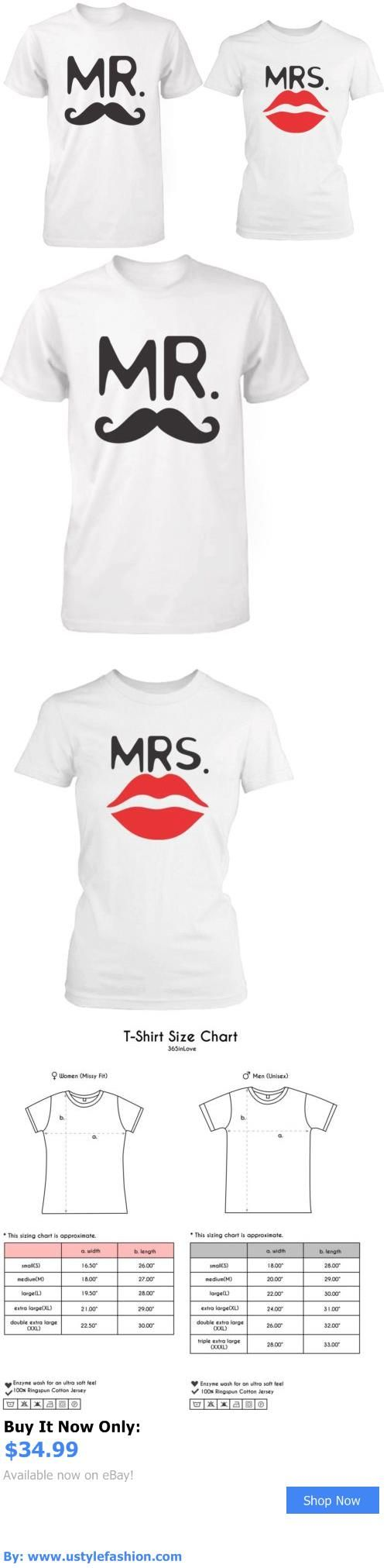 Unisex adult clothing: Mr And Mrs Matching White Couple Shirts For Newlyweds - Mustache And Lip Design BUY IT NOW ONLY: $34.99 #ustylefashionUnisexadultclothing OR #ustylefashion