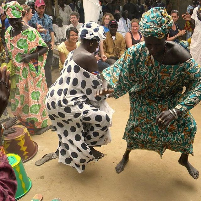 Senegal women doing a dance ritual. Dancing and music is an important part of western African culture.