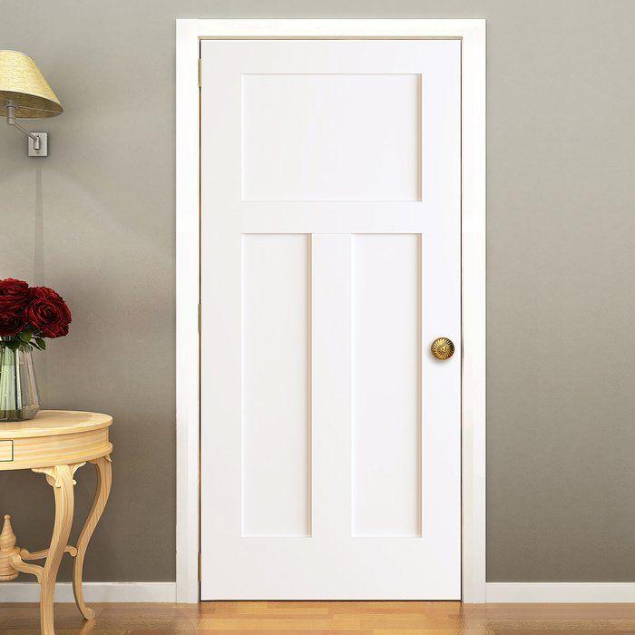 Paneled Solid Wood Primed Standard Door White Interior Doors
