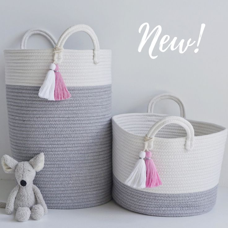 Tassel cotton rope storage basket