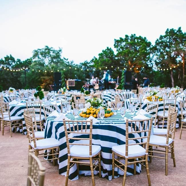 Ideas For Outdoor Wedding Reception Tables: Nautical Theme With Lemon Accents, Love The Tablecloths