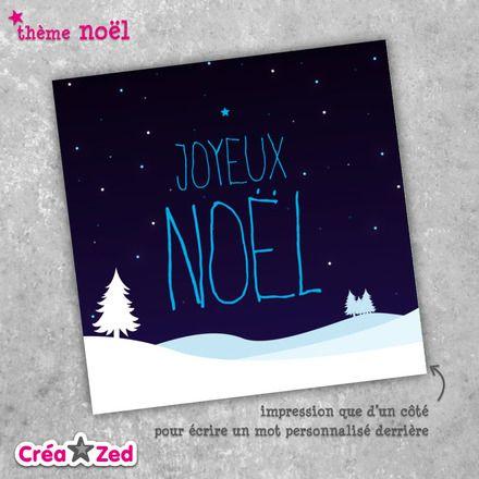 #Carte de #noël originale thème #étoiles, #neige - enveloppe comprise