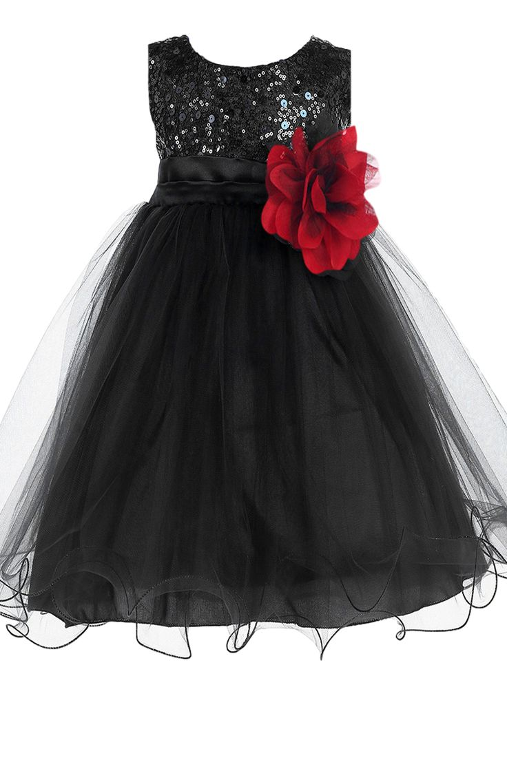 An Elegant Black Sequins & Mesh Overlay Satin Baby Girls Formal Dress with Large & Small Sequined Bodice, Pleated Satin Waist Band, Two Layer Mesh Skirting, Double Ruffle Hemline, Tie Back Spaghetti S