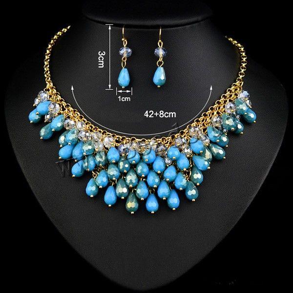 bijoux ensemble ,Parures de bijoux résine, boucle d'oreille & collier, avec chaîne de fer & cristal, laiton boucle d'oreille crochet, avec 8cm chaînes de rallonge, larme