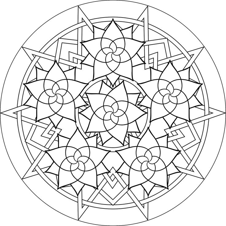 rose mandala free printable mandala coloring pages flower mandala black and white template
