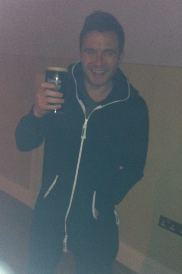"Shane Filan Official on Facebook  Liked · 1 January via Mobile  ~  ""Me havin my first pint of 2013 in a onesie last night in the house!!!LOL!!  Happy new year guys!!"""