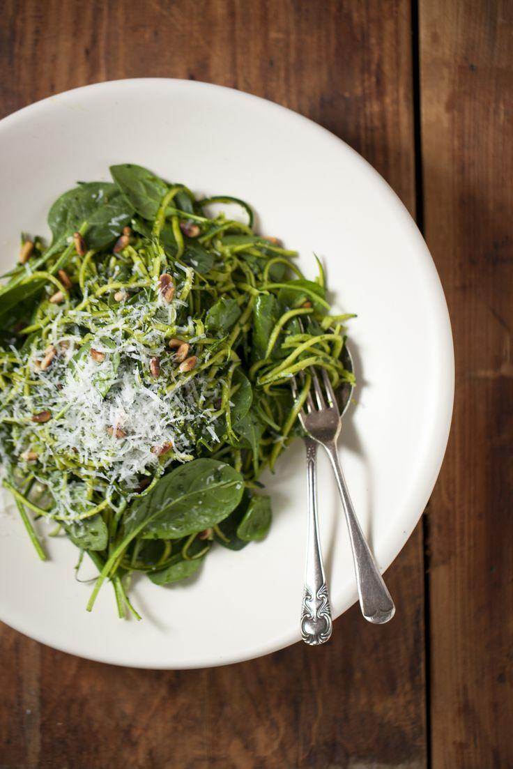 Zucchini Linguini With Spinach + Basil Pesto : The Healthy Chef – Teresa Cutter