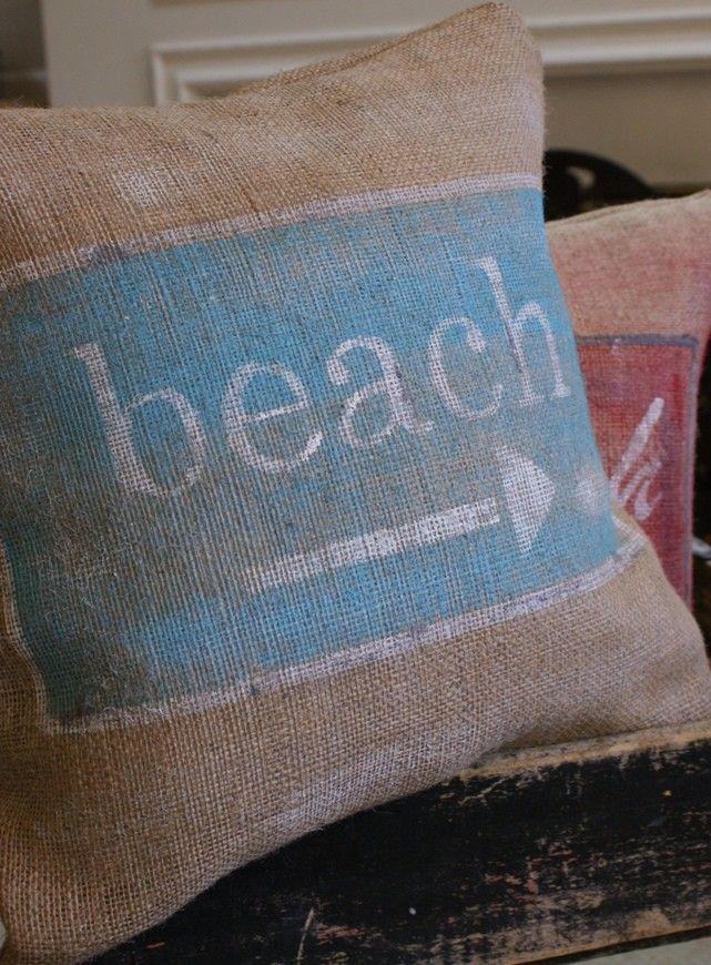ORIGINAL...Vintage Sign Series - Beach Sign Burlap Pillow Cover. $35.00, via Etsy.