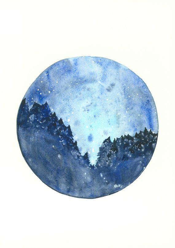 Starry Night Art Print, Circle Art, 8x11, Starry Night Painting, Landscape Painting, Deep Blue, Night Sky Painting
