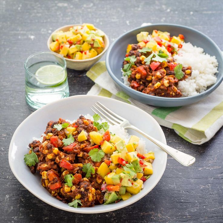 Spiced Black Beans with Coconut Rice and Mango Avocado Salsa