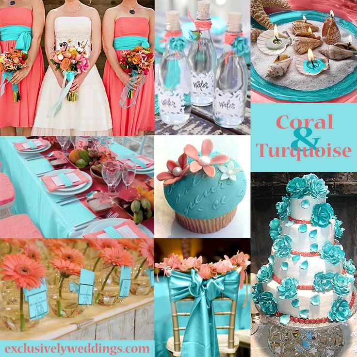 Coral and Turquoise Wedding Colors | #exclusivelyweddings Never thought to put these two colors together!