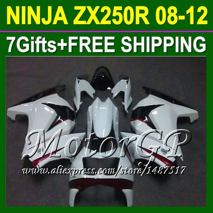 Купить товар7 подарки + для Kawasaki ниндзя ZX250 08 09 10 11 12 белый красный 16 # 40 ZX 250 ниндзя 250r 2008 2009 2010 ZX250R зализа белый в категории Щитки и художественная формовкана AliExpress.