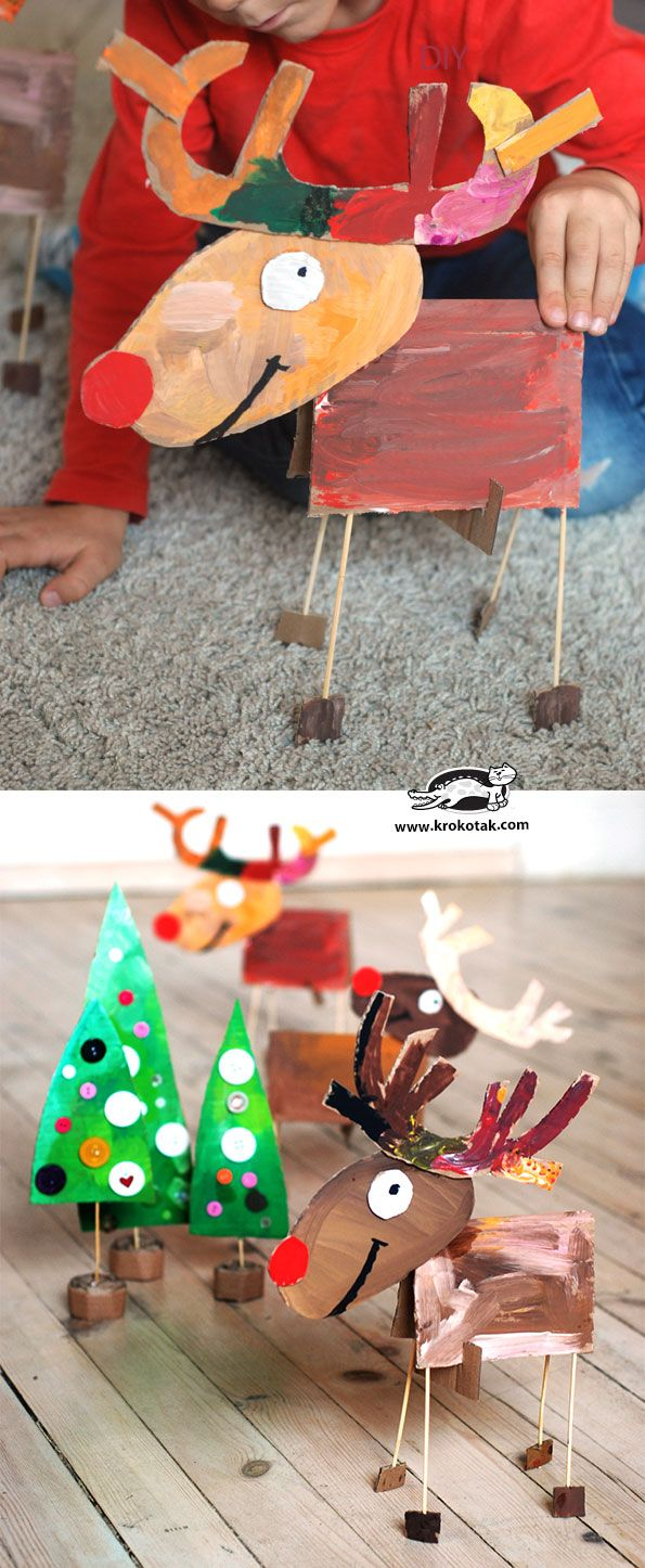 Cardboard Christmas Activities - make reindeer and Christmas trees from cardboard (easy and fun kids craft!)