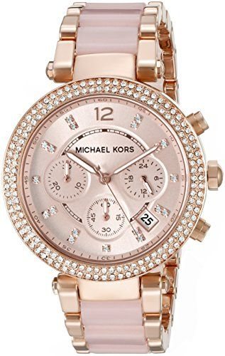 MICHAEL KORS women watch - Round stainless steel case (diam. 39 mm) in polished rose gold finishing - 2 rose gold pushers - 10 ATM water pressure resistance construction - Bezel with clear crystals Stainless steel bracelet in polished rose gold finishing with rose acetate links at the center - Locking clasp with push button Light rose dial with clear crystals as indexes, arabic number at 12 and light rose inner bezel - Chronograph movement with date and 24h mode - Rose gold and luminous…