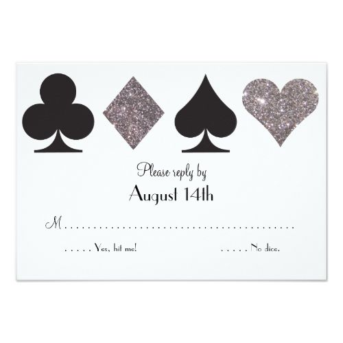 Silver Wedding Glitter Invitations Destiny LasVegas Wedding reply faux silver glitter Card