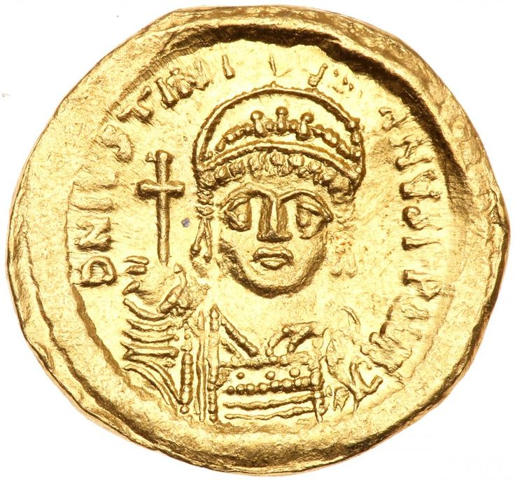 Justinian I. Gold Solidus (4.24 g), 527-565 EF Constantinople, 545-565. D N IVSTINI-ANVS PP AVC, helmeted and cuirassed bust of Justinian I facing, holding globus cruciger and shield. VICTORI-A AVCCC, angel standing facing, holding staff surmounted by staurogram and globus cruciger; in right field, star; Γ//CONOB. DOC 9c; MIBE 7; SB 140. Lustrous. Estimated Value $400 - 450 #Coins #Gold #Ancient #MADonC