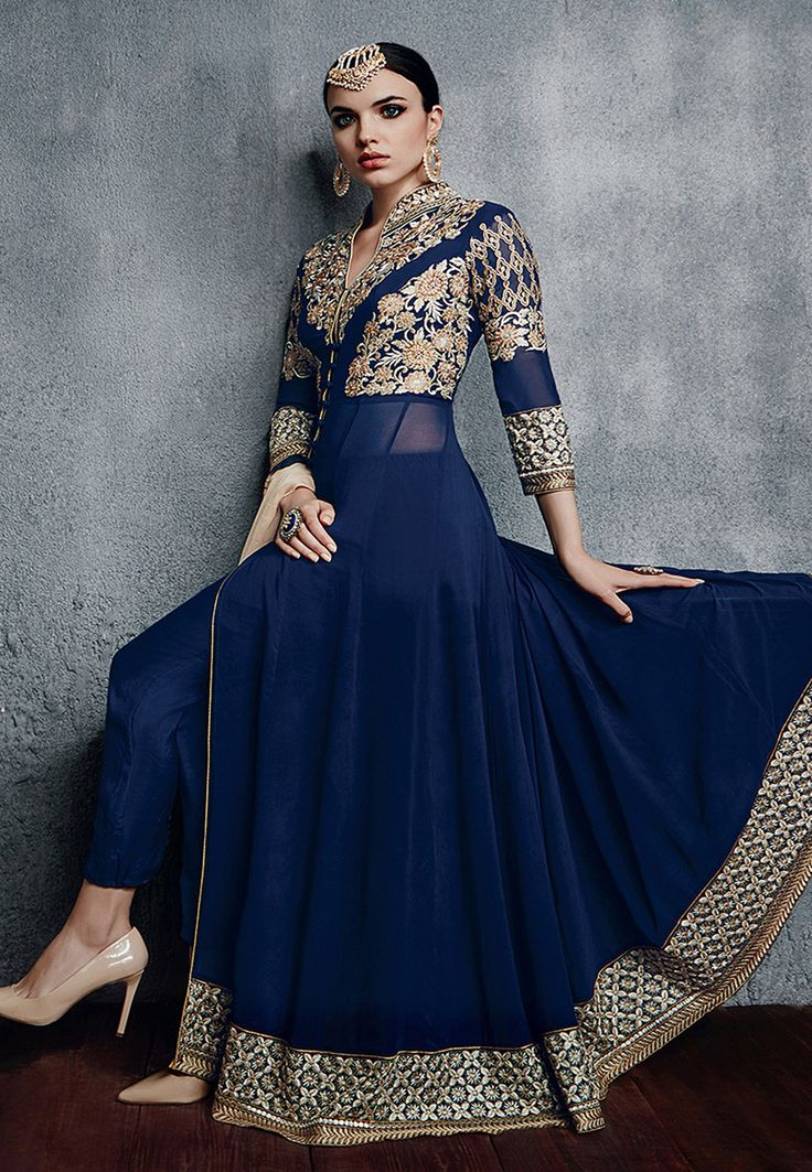 Buy Embroidered Georgette Abaya Style Suit in Blue online, work: Embroidered, color: Blue, usage: Party, category: Salwar Kameez, fabric: Georgette, price: $76.55, item code: KUF8852, gender: women, brand: Utsav
