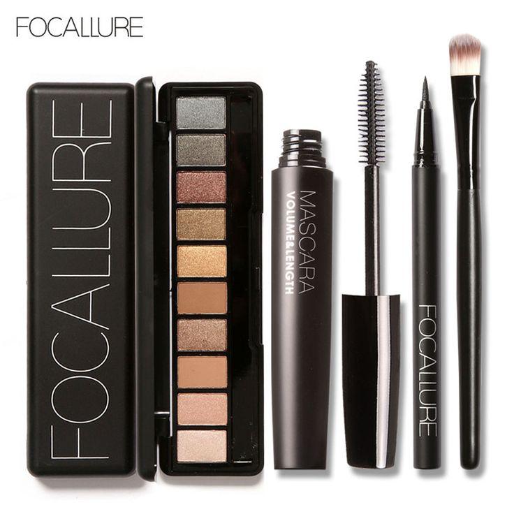 Focallure 4 unids pro set maquillaje 10 colores warm nude colores de sombra de ojos delineador rimel negro con 1 unids shadow brush kit