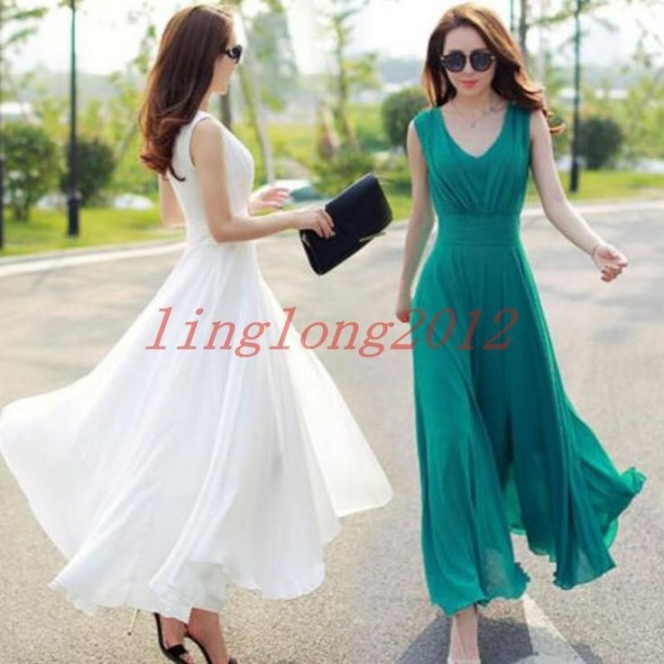 Fashion A Line Long Korean Women Boho Chiffon Maxi Summer Beach Party Dress