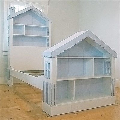 Bookcase Dollhouse Headboard and Footboard: If you conquered the dollhouse bookcase, this is your next project right here! Not even In Barbie's dreams has her dream house ever looked so good!
