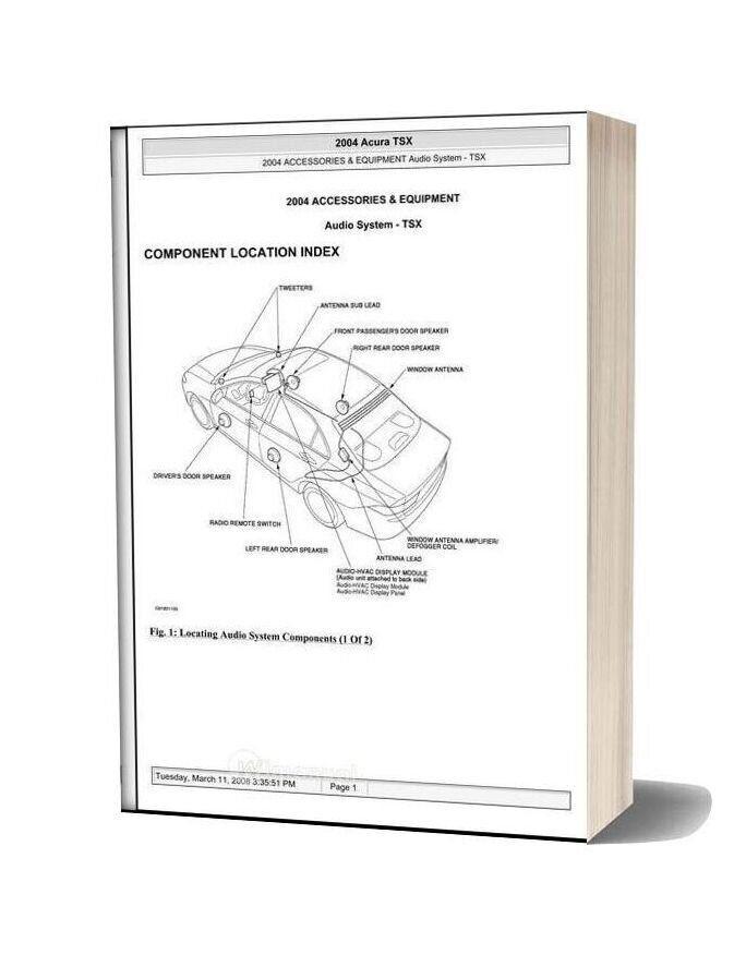 Acura Tsx 2003 2008 Audio System Service Repair Manual In 2020 Acura Tsx Repair Manuals Audio System