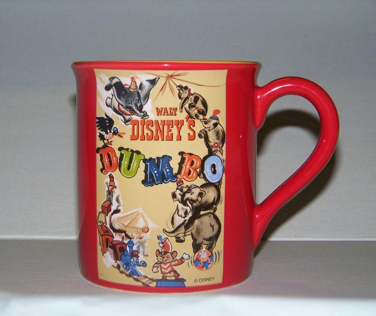 WALT DISNEY DUMBO THE FLYING ELEPHANT MOVIE COFFEE MUG CUP RED BIG EARS CARTOON