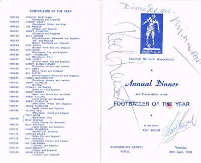 Footballer of the Year menu signed by Dixie Dean, Kevin Keegan, Rod Stewart, Michael Foot and others. $615 (GBP 395) at Paul Fraser Collectibles. Free worldwide shipping, lifetime guarantee and certificate of authenticity included. #football #sports #memorabilia