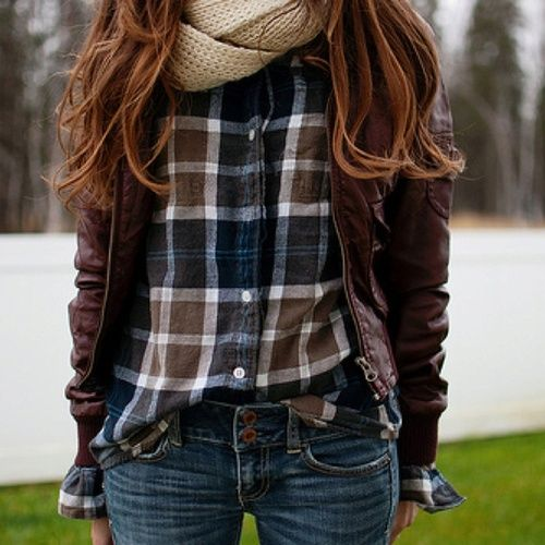 Love this oufit ! Blue and Brown plaid button up tucked into blue jean skinnies, bundle up with a brown faux leather jacket and top off your cozy look with a tan infinity scarf to create a great fall look !