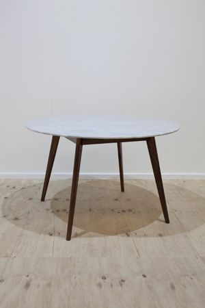 Marble Oia Round Dining Table - 120cm (Solid Oak and Walnut Bases)
