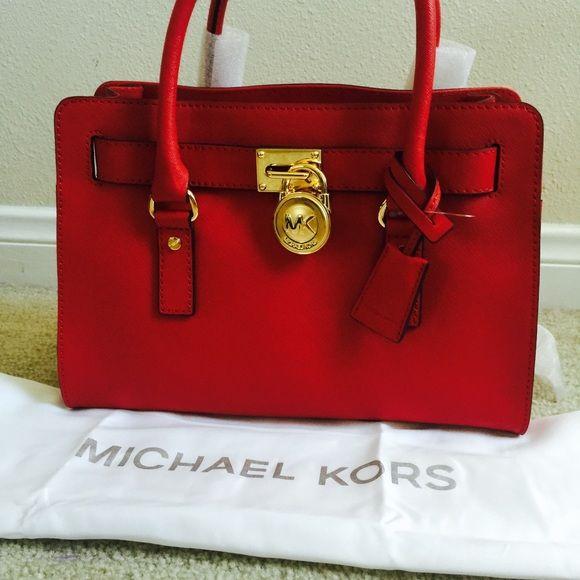 Beautiful Michael Kors red handbag ❤️ Michael Kors Red Medium Hamilton ❤️ safian leather. Michael Kors Bags Shoulder Bags