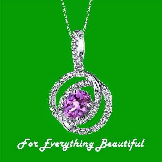 Pink Sapphire Oval Dual Halo White Topaz Accent 14K White Gold Pendant