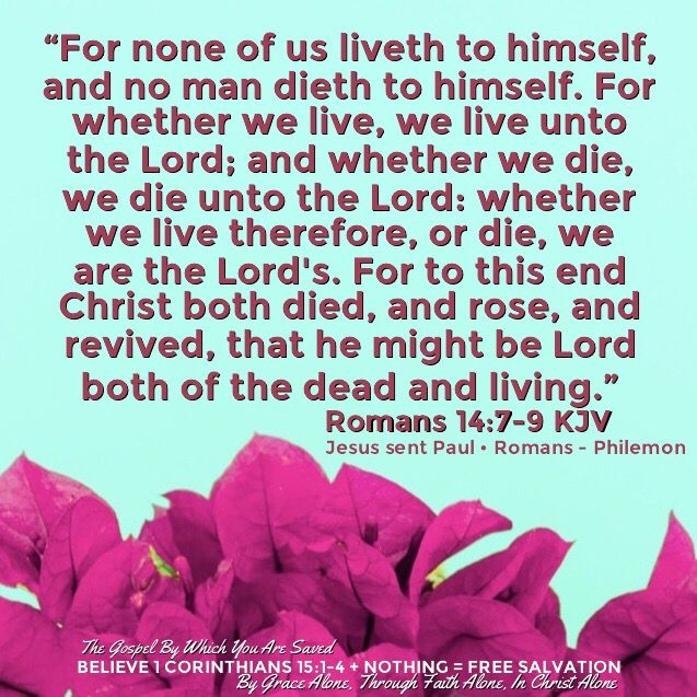 """""""For none of us liveth to himself, and no man dieth to himself. For whether we live, we live unto the Lord; and whether we die, we die unto the Lord: whether we live therefore, or die, we are the Lord's. For to this end Christ both died, and rose, and revived, that he might be Lord both of the dead and living.""""  Romans 14:7-9 KJV   ✞Grace and peace in Christ!"""