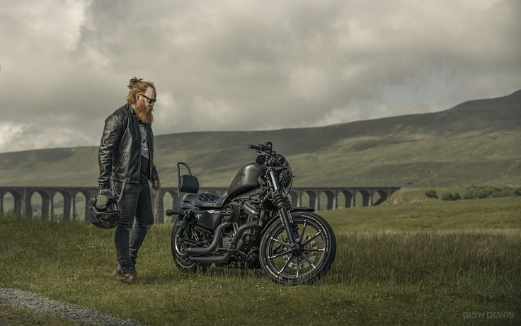 """Harley with Owner / Model Sam Walker. Photographed at Ribblehead Viaduct in North Yorkshire using: Canon 5D MKIII and lit using Elinchrom ELB 400 and Rotalux 135cm (50"""") Octa in Hi Sync (1/1000sec)"""