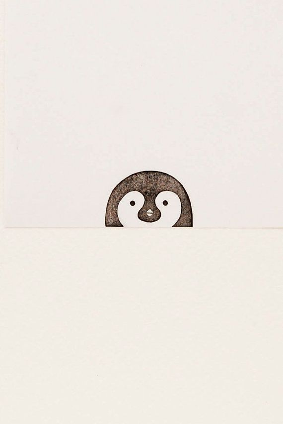 Pretty curious peek-a-boo penguin stamp kids gift – Hand carved simple rubber stamp for diy stationery, funny bird cute birthday gift