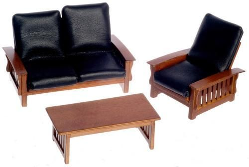 3 pc Modern Leather Living Room Set - Walnut with Black Leather