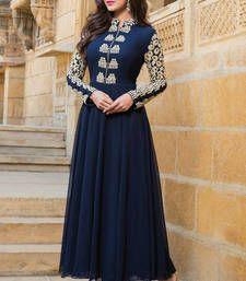 Buy Blue embroidered georgette semi stitched salwar with dupatta party-wear-salwar-kameez online